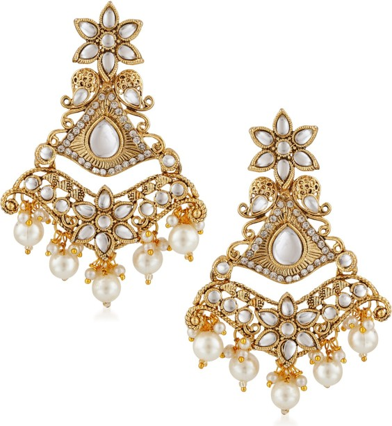 Meenaz traditional pearl jewellery gold chandbali jhumki party wear stylish  jhumka earrings for women girls jpg 369e838140ff