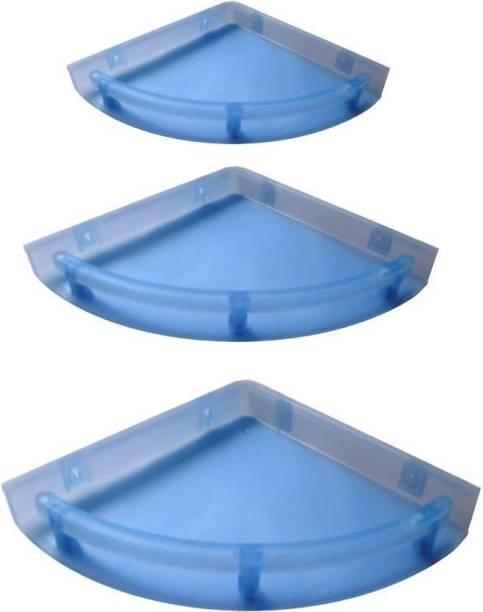 "Rishika UnBreakable"" Premium Quality Crystal Clear Corner Set Plastic Bathroom Corner Shelves (Pack of 3, Clear) BLUE Plastic Wall Shelf (Number of Shelves - 3, Blue) Plastic Wall Shelf"