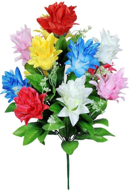 Yash Enterprises Multicolor Hibiscus 12 Multicolor Hibiscus Artificial Flower