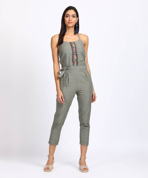 Beach Jumpsuit In Halter Neck - Khaki Influence