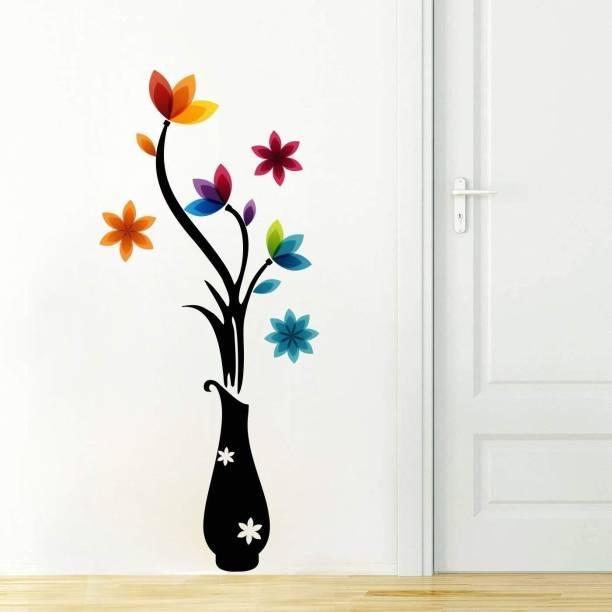 Pixel Print Medium 'Colorful Flowers with Vase ' Wall Sticker (PVC Vinyl, 112 cm x 48 cm)