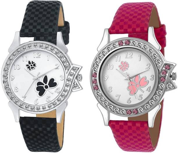 dc12f7459 Swan new Butterfly Print Dial Velvet Leather Strap color pink   Black Watch  - For Girls