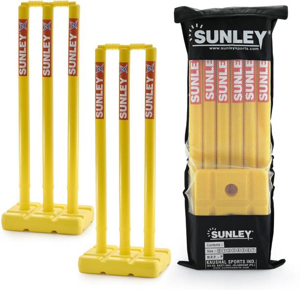 SUNLEY Plastic Wickets set for Both Sides(6 wickets,4 bails, 2 Base, 1 kit bag)