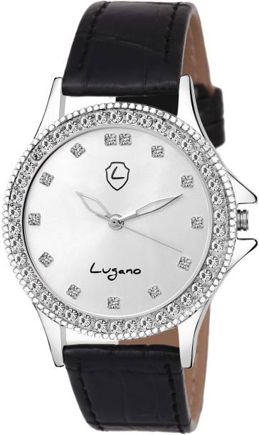 f2bfe24a29e Lugano LG 2065 Gorgeous Silver Gem Studded Dial With Black Leather Strap  Watch - For Girls
