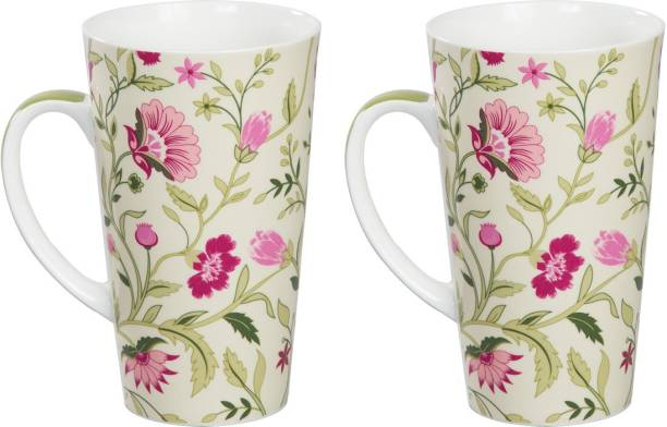 CLAY CRAFT India Circus Rose Mallow Moscheutos Conical Tall Latte Bone China Coffee Mug