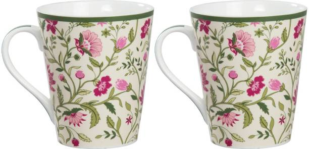 CLAY CRAFT India Circus Rose Mallow Moscheutos Milk Set of 2 Bone China Coffee Mug