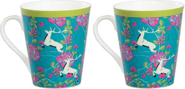 CLAY CRAFT India Circus Natures Essence Paradise Milk Set of 2 Bone China Coffee Mug