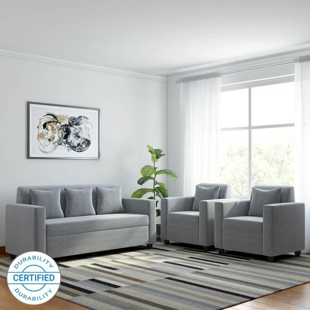 Bharat Lifestyle Lexus Fabric 3 + 1 + 1 Light Grey Sofa Set