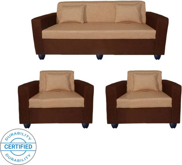 Bharat Lifestyle Lexus Fabric 3 + 1 + 1 Golden Brown Sofa Set