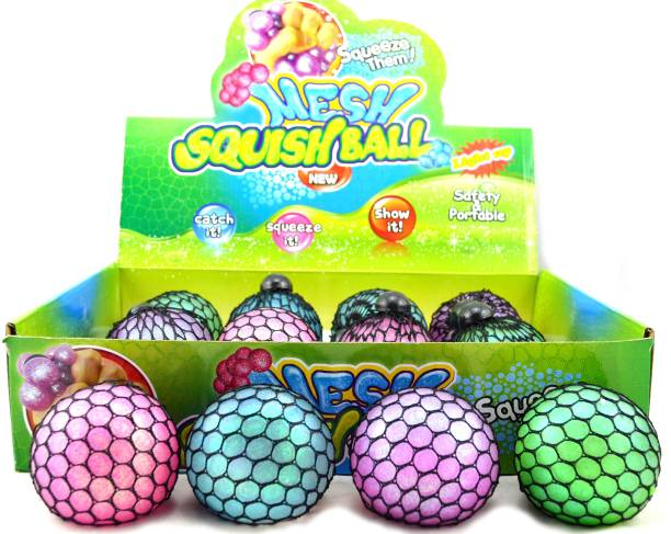 AncientKart Squeeze Mesh Smash Stress Relief Balls with Slime Inside (Set of 4) Multicolor