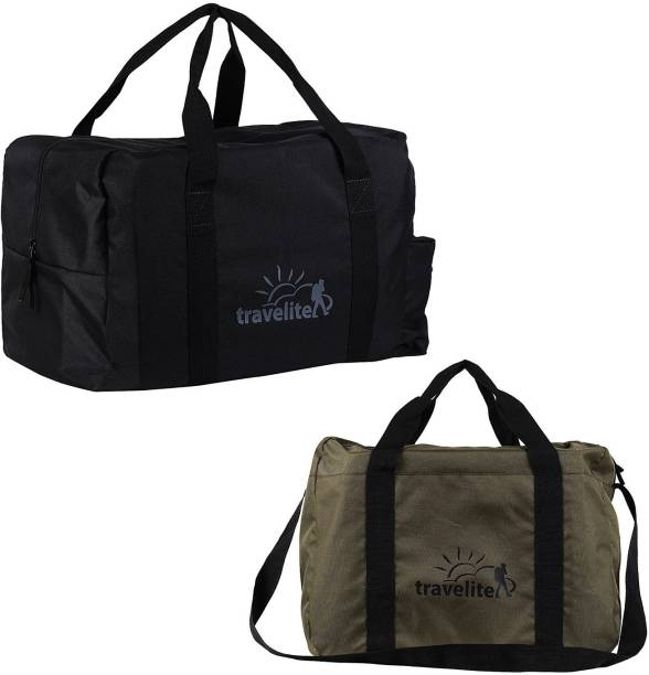 Travelite (Expandable) Polyster Black   Military Green Duffle Bag Combo  Pack Of 2 ( 9412b3de737b7