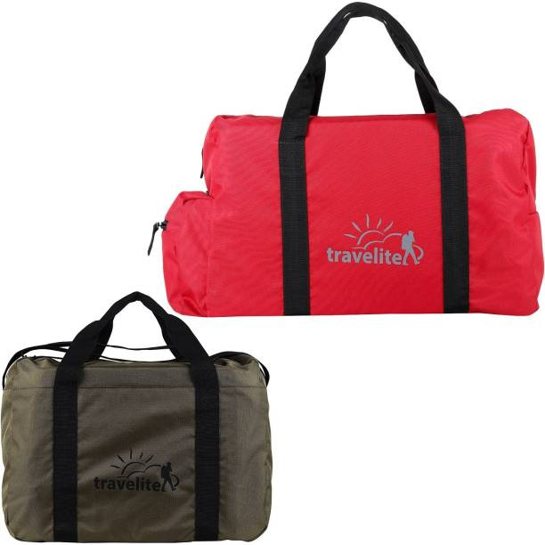 ad4ea77f45c Travelite (Expandable) Polyster Red   Military Green Duffle Bag Combo Pack  Of 2 (