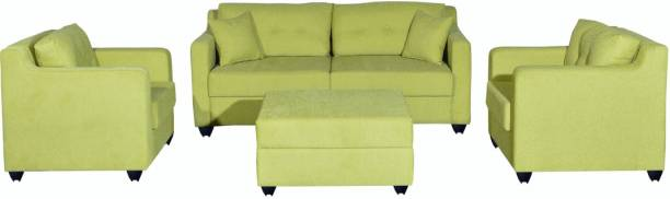 Bharat Lifestyle Lisbon Fabric 3 + 1 + 1 Green with Puffy Sofa Set
