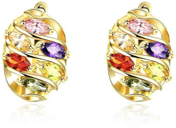 b1096f9c5 Divastri Oval Swiss by Yellow Chimes Gold Plated and Cubic Zirconia Clip-On  Earrings Zircon