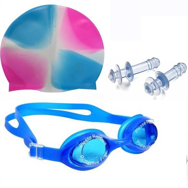 as enterprise MS 0026 High Quality Combo of Silicone material Swimming Cap, Goggles and Ear Plug for Men, Women & Kids Swimming Kit
