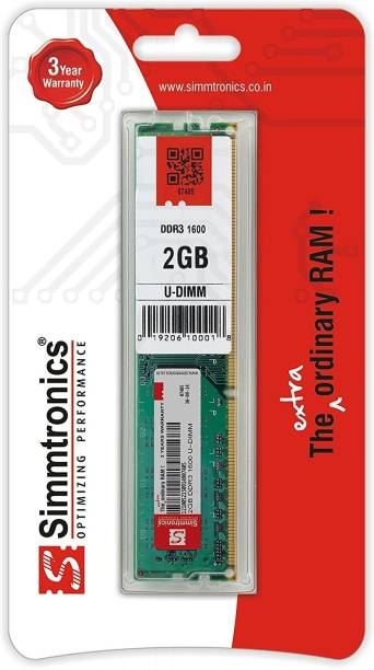 simtronics 2 GB DDR3 DDR3 2 GB (Single Channel) PC (Simmtronics 2GB DDR3 1600 Desktop)