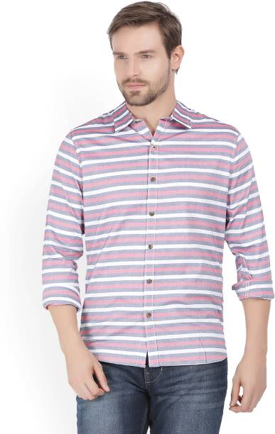 WROGN Men Striped Casual Red Shirt