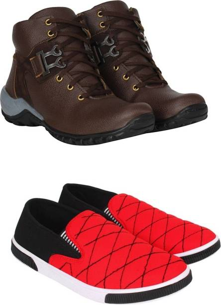 4e334fd560b95 Jootiyapa Combo-(Brownboot-Redloafer) Boots For Men