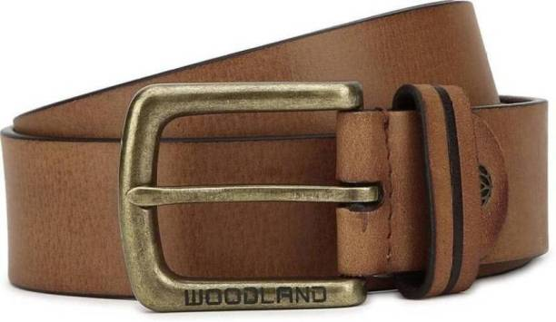 ... Woodland Men Casual Tan Genuine Leather Belt