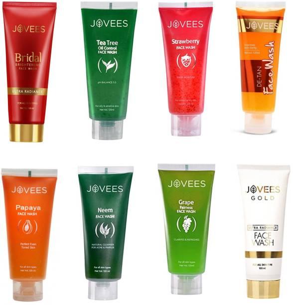 JOVEES -Eight Flavour-Bridal Brightening,Gold Ultra Radiance,Papaya,De-Tan,Tea Tree,Grape,Neem,Strawberry. Face Wash