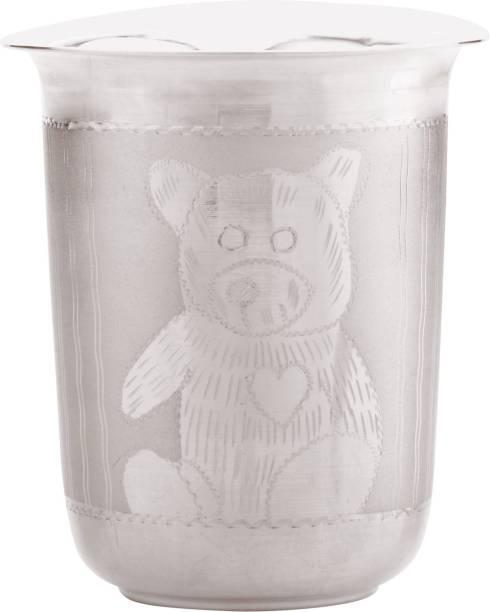 Osasbazaar Sterling Silver Baby Glass - Teddy Bear Design - 90%-92.5% Pure BIS Hallmarked  - Silver
