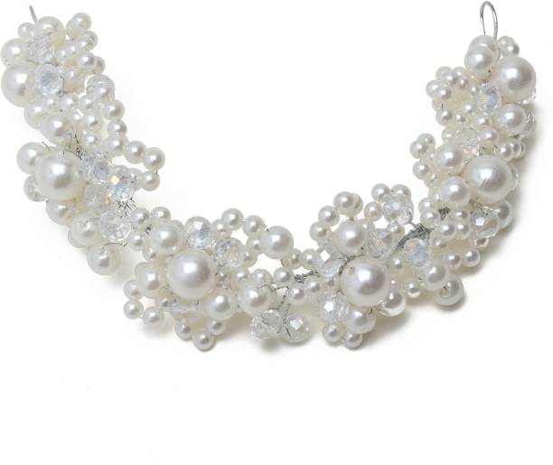 Aaishwarya Faux Pearls Wedding/Party/Bridal Floral Hair Accessory For Women & Girls Hair Band