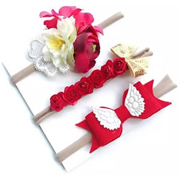 962650d2d6a Ziory Red 3Pcs set kids Fashion baby girl Toddler Flower Headband Hair Band  Headwear children