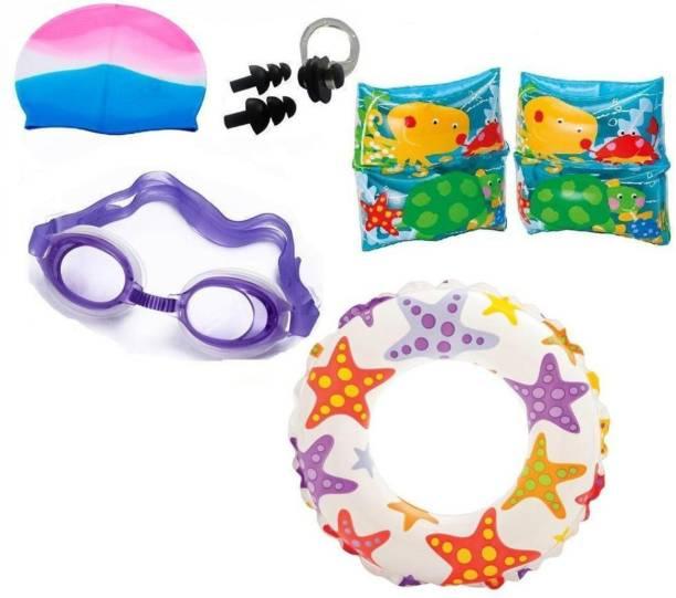 Indigo Creatives Large Size Swimming Ring With Cap,Goggles, Nose and Ear Plug Kids Set Kit Swimming Kit