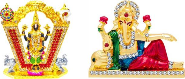 FABZONE Combo of 2 God Tirupati / Thirupathi Balaji & Ganesha Car Dashboard Idol Ganpati Statue Decorative Spiritual Puja Vastu - Religious Murti Pooja Gift Item / Temple / Home Décor Decorative Showpiece  -  8 cm