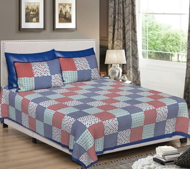 Jaipuri Cotton 144 TC Cotton Double King Checkered Bedsheet