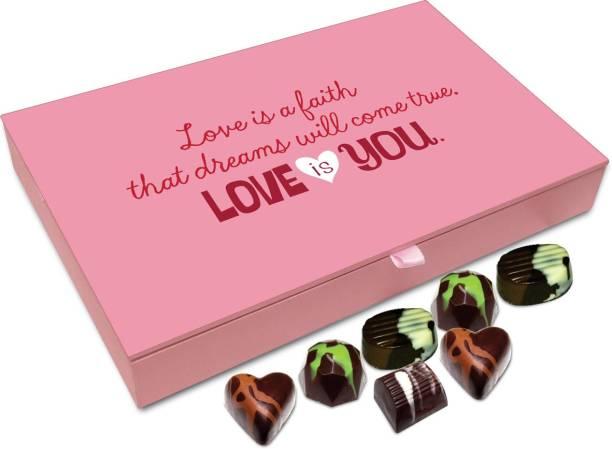 e19202580bb90 Chocholik Gift Box -Love Is A Faith That Dreams Will Come True - 12pc  Truffles