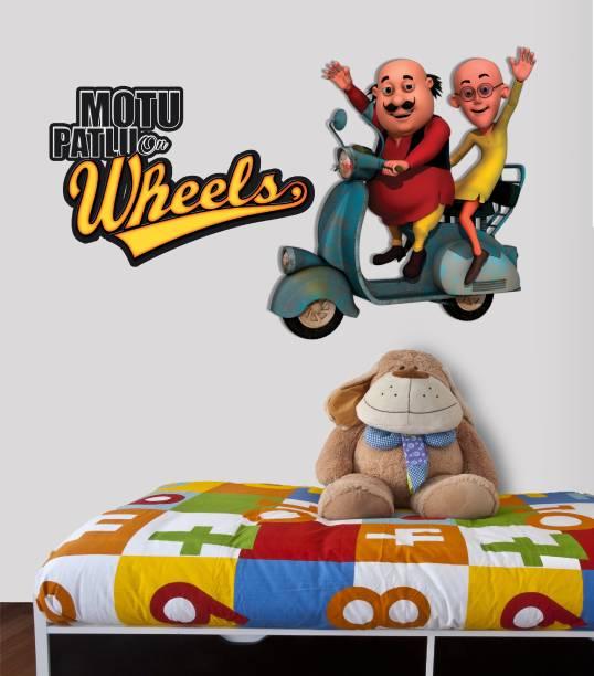 ASIAN PAINTS XXL Wall Ons Motu Patlu Duo on wheels Adhesive Type