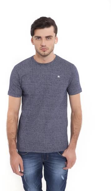 Redondo Azul Mackenzie Cuello Camiseta Hombres Impreso Andrew ZxTqwOPC