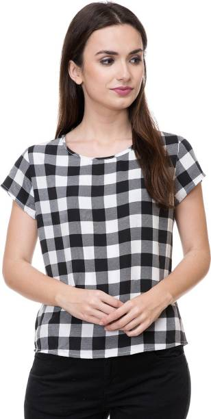 81fec45d9371e DEEWA Casual Short Sleeve Checkered Women s White Top