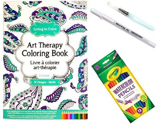 Combined Brands Art Therapy Coloring Book Unwind For Adults With 12 Watercolor Pencils 1