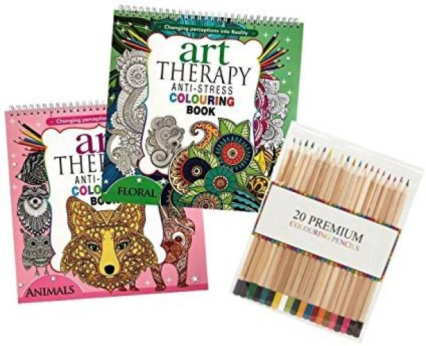 Invero Set Of 2 Anti Stress Adults Relaxing Art Therapy Colouring Book With 100 Designs
