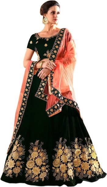 bc4631b5fa WestCoastOn Embellished Semi Stitched Lehenga, Choli and Dupatta Set