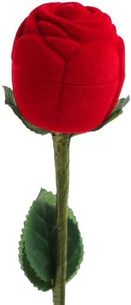 BOXO Heart Velvet Rose Love Ring Box for Valentines Day Gift for Girlfriend and Boyfriend, Red Rose Gift, 15 Grams, Pack of 1(10984) vanity box Vanity Box
