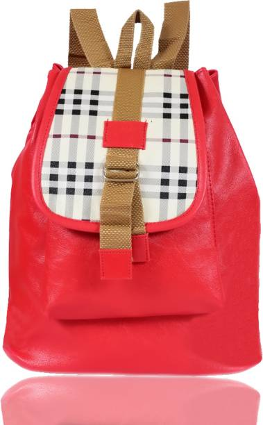 be8ed7c86f1a79 Beets Collection Leather Backpack School Bag Student 10 L Backpack (Red)  Waterproof Backpack