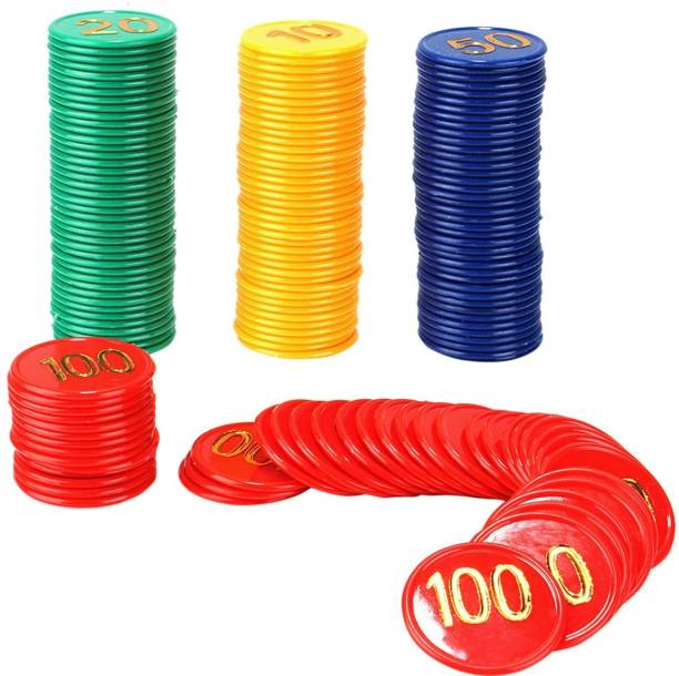 Jonquin Poker Chips Set (10, 20, 50, 100) 40 Coins Each