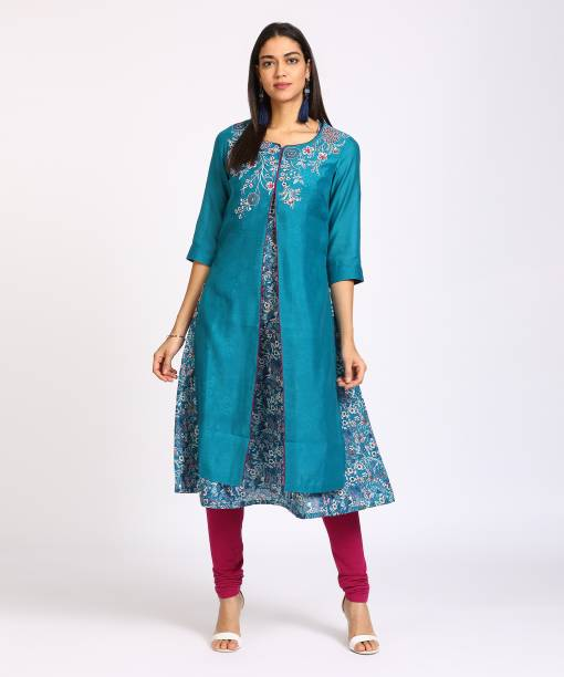 3cf9d777b Rangriti Women s Embroidered Frontslit Kurta