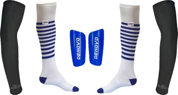 DeNovo Ultimate Protection (One Pair Large Shin Guard + One Pair Lycra  Striped Knee Length 959f71659
