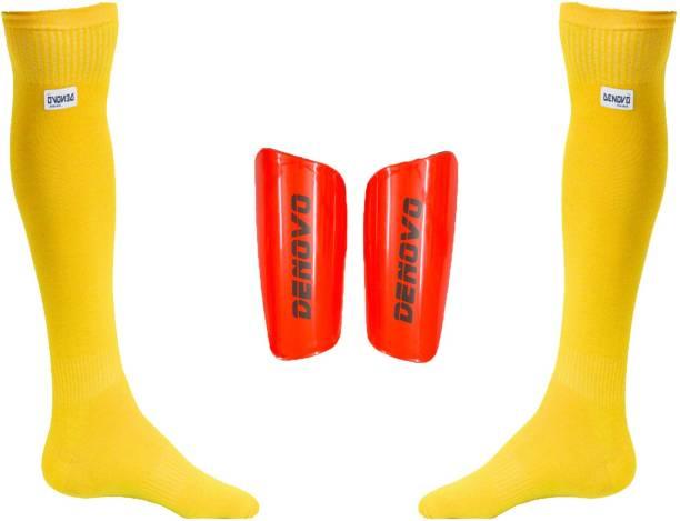 DeNovo Football Kit (One Pair Large Shin Guard + One Pair Lycra Plain Knee  Length becca21c2