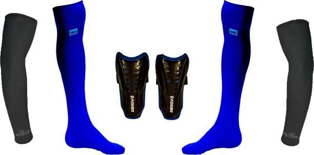 DENOVO Ultimate Protection (One Pair Large Shin Guard + One Pair Lycra Plain Knee Length Football Socks + One Pair UV Protection Arm Sleeves) Football Kit