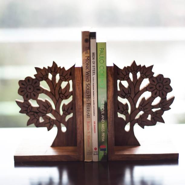 ExclusiveLane Hand Carved & Engraved Tree Of Life Book End Cum Table Top Magazine Holder