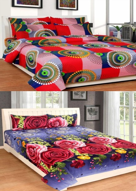 Home Pictures 144 TC Cotton Double 3D Printed Bedsheet
