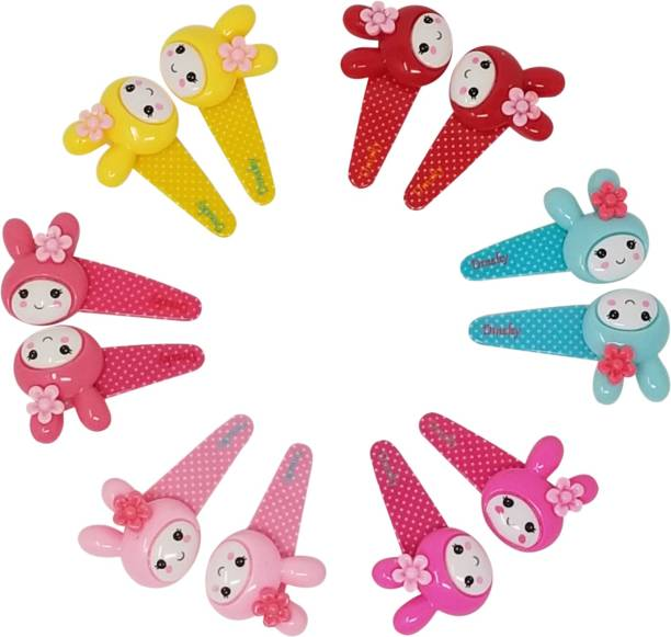Evolution Cute & Funky Bunny Faces Multicolored Kids Snap Hair Clips, SmallFor Kids / Girls Tic Tac Clip