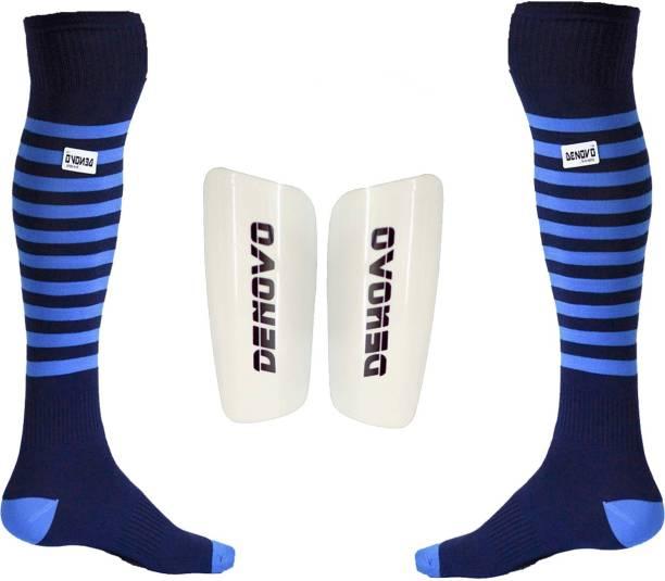 DeNovo Football Kit (One Pair Large Shin Guard + One Pair Lycra Striped  Knee Length c47b5157f