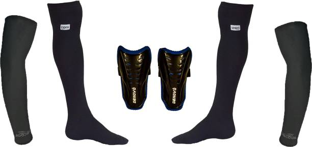 6164497c6 DeNovo Ultimate Protection (One Pair Large Shin Guard + One Pair Lycra  Plain Knee Length