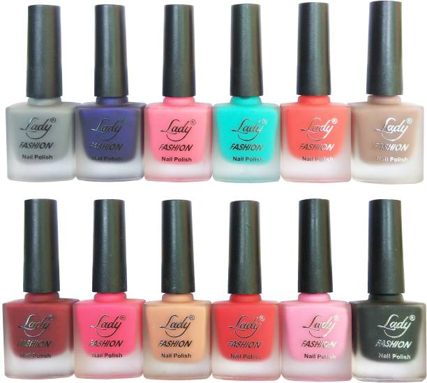 Lady FASHION Velvet Matte Nail Polish (Set of 12 Nail Polish) Red,Grey,Turrquoise,Purple,Nude,Red,Pink,Pink,Red,Black,Pink,Nude